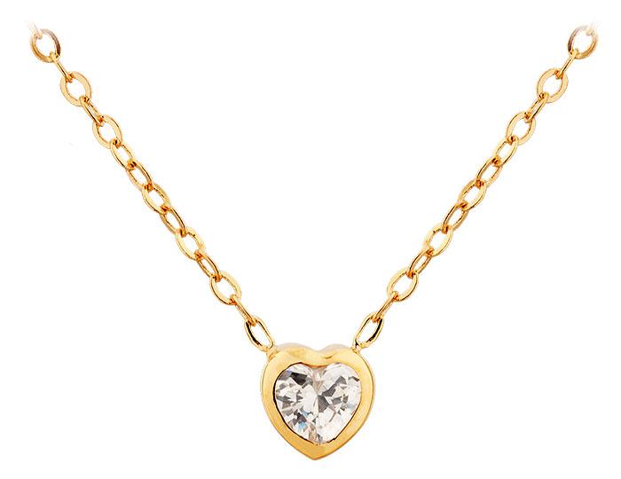 Collier plaqué or et oxyde Coeur