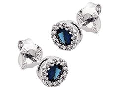 Boucles doreille argent et pierre bleue