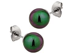 Boucles doreille acier et perle de synthèse