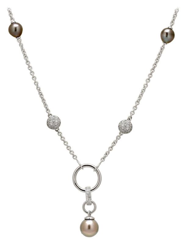 Collier argent, perles de Tahiti et oxydes