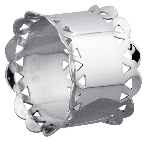 Rond de serviette métal argenté Dentelle