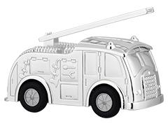 Tirelire métal argenté Camion de Pompier