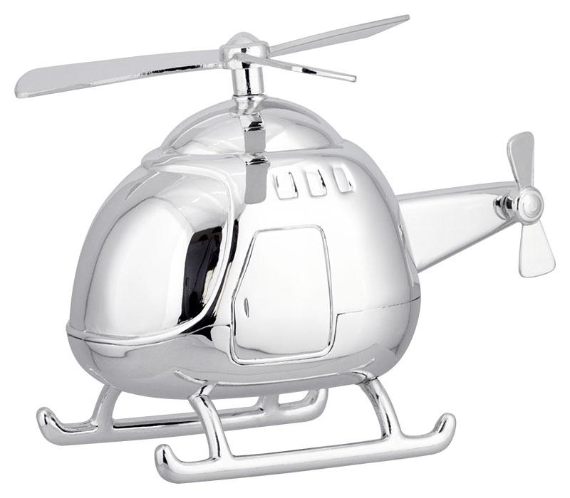 Tirelire métal argenté Hélicoptère