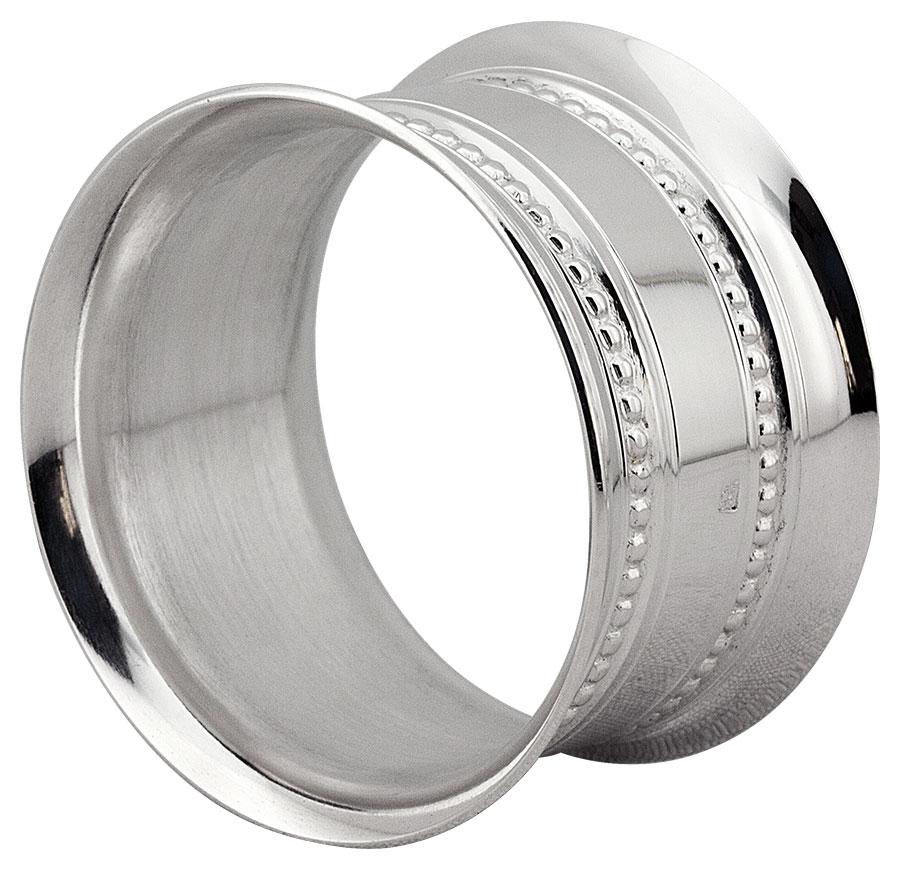 Rond de serviette métal argenté Perles