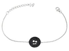 Bracelet argent et oxydes noirs