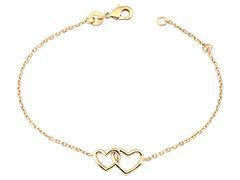 Bracelet plaqué or Double Coeur