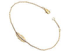 Bracelet plaqué or et oxydes Plume