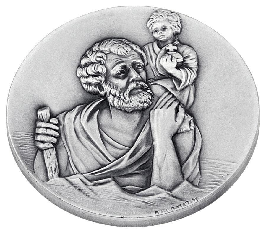 Aimant métal argenté Saint Christophe