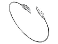 Bracelet rigide argent rhodié Plume