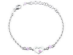 Bracelet argent Coeur rose