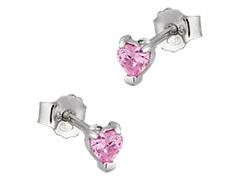 Boucles doreille argent et pierre rose Coeur