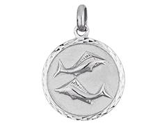 Médaille argent rhodié Poissons