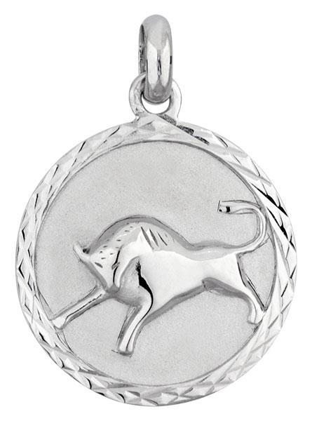 Médaille argent rhodié Taureau