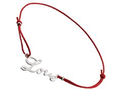 Bracelet tissu et argent Love