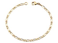 Bracelet plaqué or maille alternée 18 cm