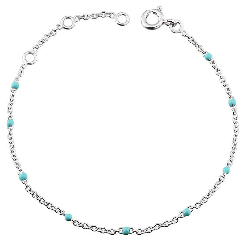 Bracelet argent rhodié et résine bleue