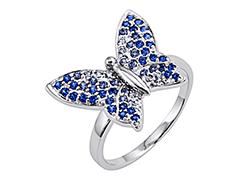 Bague argent Papillon bleu