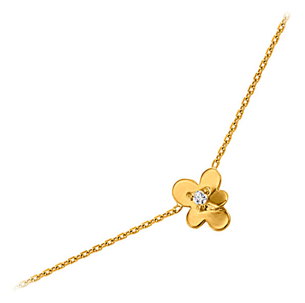 Collier plaqué or et oxyde Fleur