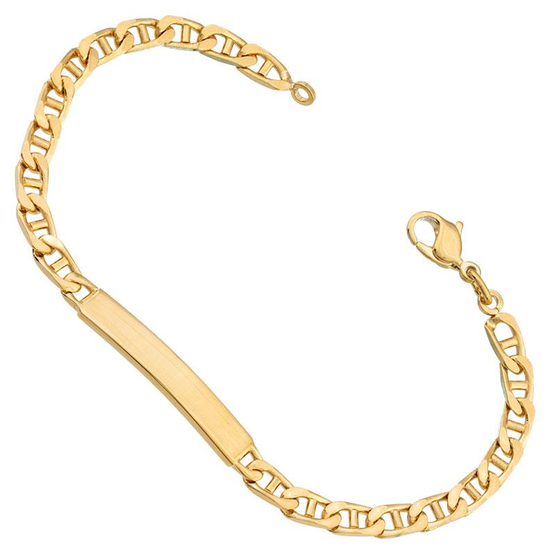 Bracelet identité plaqué or 18 cm