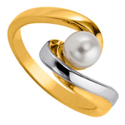 Bague plaqué or et perle de synthèse