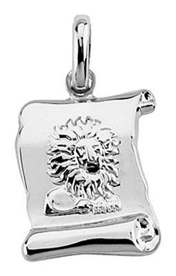 Pendentif argent rhodié Lion