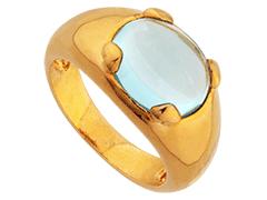 Bague plaqué or et pierre bleue