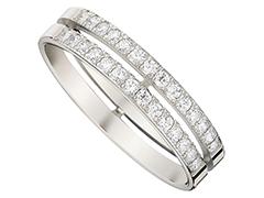 Alliance or blanc 9K et diamants 0.47 ct