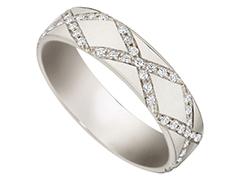 Alliance or blanc 9K et diamants 0.39 ct