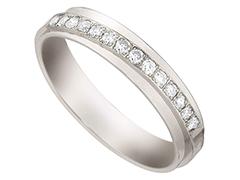 Alliance or blanc 9K et diamants 0.23 ct