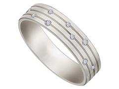Alliance or blanc 9K et diamants 0.08 ct