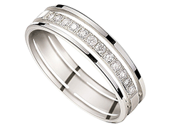 Alliance or blanc 9K et diamants 0.20 ct