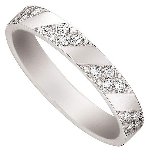 Alliance or blanc 9K et diamants 0.27 ct