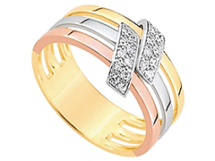 Bague or tricolore et diamants 0.12 ct