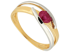 Bague or bicolore et rubis