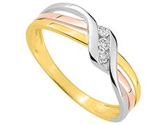 Bague or tricolore et diamants