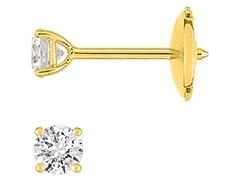 Boucles doreille or jaune et diamant 0.25 ct