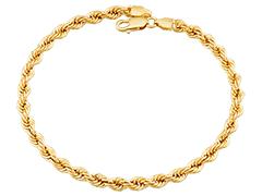 Bracelet or jaune 9K maille corde