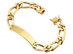 Bracelet identité or jaune 20 cm